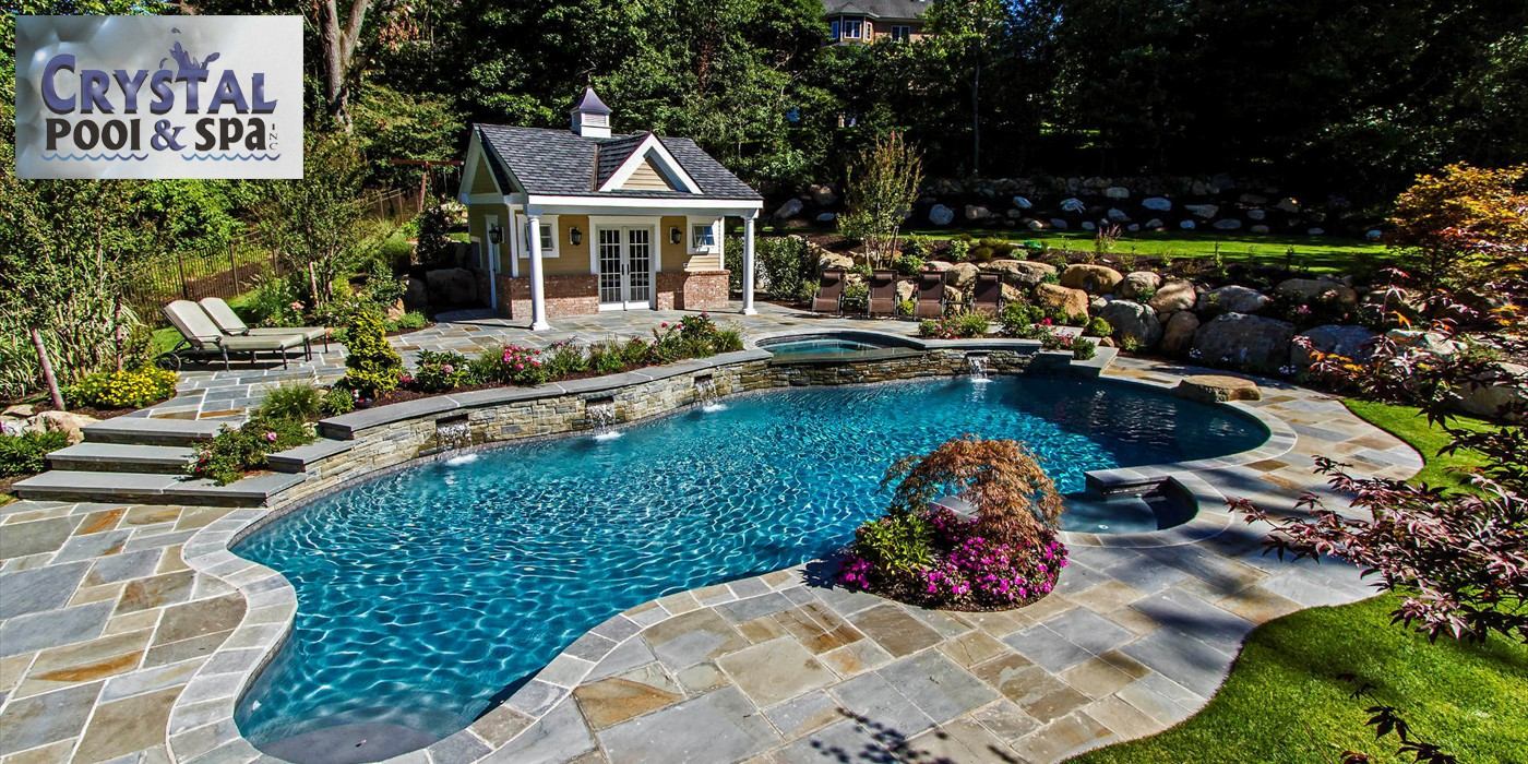 Gunite Pool With Raised Wall And Waterfalls